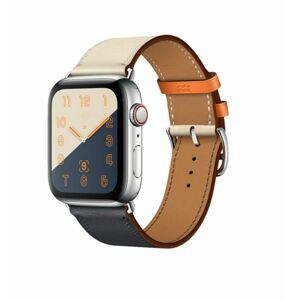 eses Kožený vícebarevný řemínek 38mm/40mm/41mm béžovo - tmavě modrý pro Apple Watch