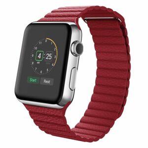 eses Kožený magnetický řemínek 42mm/44mm červený pro Apple Watch