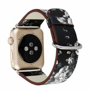 eses Kožený květinový řemínek 42mm/44mm černý pro Apple Watch