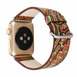 eses Kožený Folk řemínek 42mm/44mm hnědooranžový pro Apple Watch