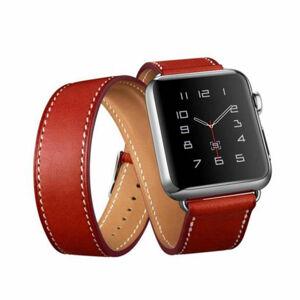 eses Dvojitý kožený řemínek 42mm/44mm červený pro Apple Watch