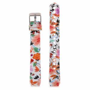 eses Silikonový řemínek bílý s květinami pro Fitbit Alta HR