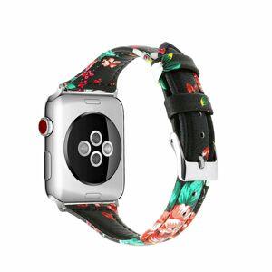 eses Kožený květinový úzký řemínek 42mm/44mm černý pro Apple Watch