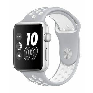 eses Silikonový řemínek 42mm/44mm S/M/L stříbrný/bílý pro Apple Watch