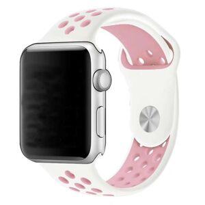 eses Silikonový řemínek 42mm/44mm S/M/L bílý/růžový pro Apple Watch