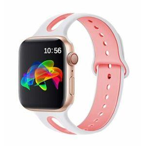 eses Dvoubarevný řemínek 38mm/40mm bílý/růžový pro Apple Watch