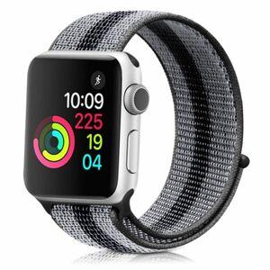 eses Nylonový řemínek 42mm/44mm černošedý proužek pro Apple Watch