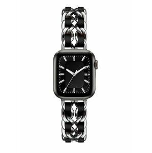 eses Kovový řetízkový řemínek 42mm/44mm proplétaný stříbrno černý pro Apple Watch