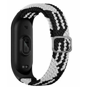 eses Tkaný elastický řemínek černo bílý pro Xiaomi Mi Band 4/5/6