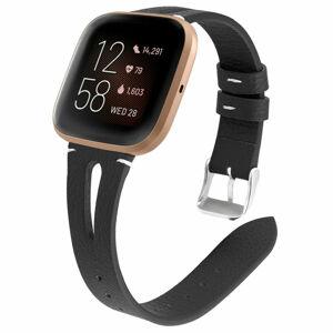 eses Úzký kožený řemínek černý pro Fitbit Versa 3